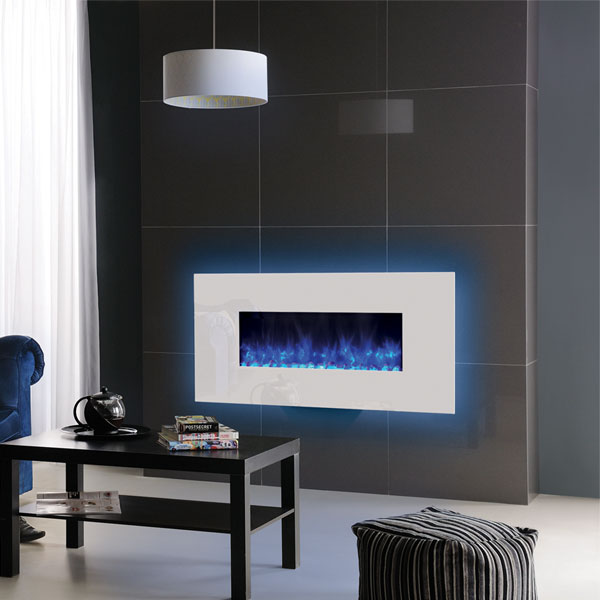 Gazco Radiance 80W Wall Mounted Electric Fire - White Glass