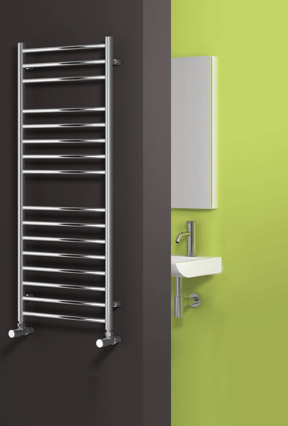 Reina Luna 600 X 300 Stainless Steel Modern Vertical Bathroom Towel Rail and Radiator