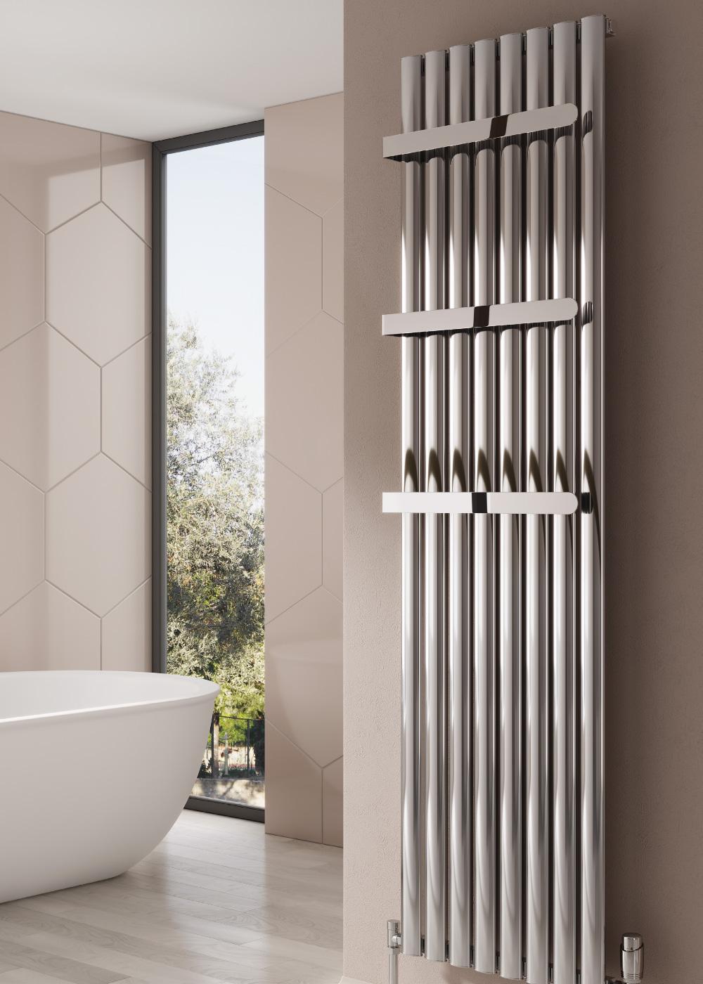 Reina Neval Aluminium Single Vertical Bathroom Towel Rail And Radiator Polished 206 80