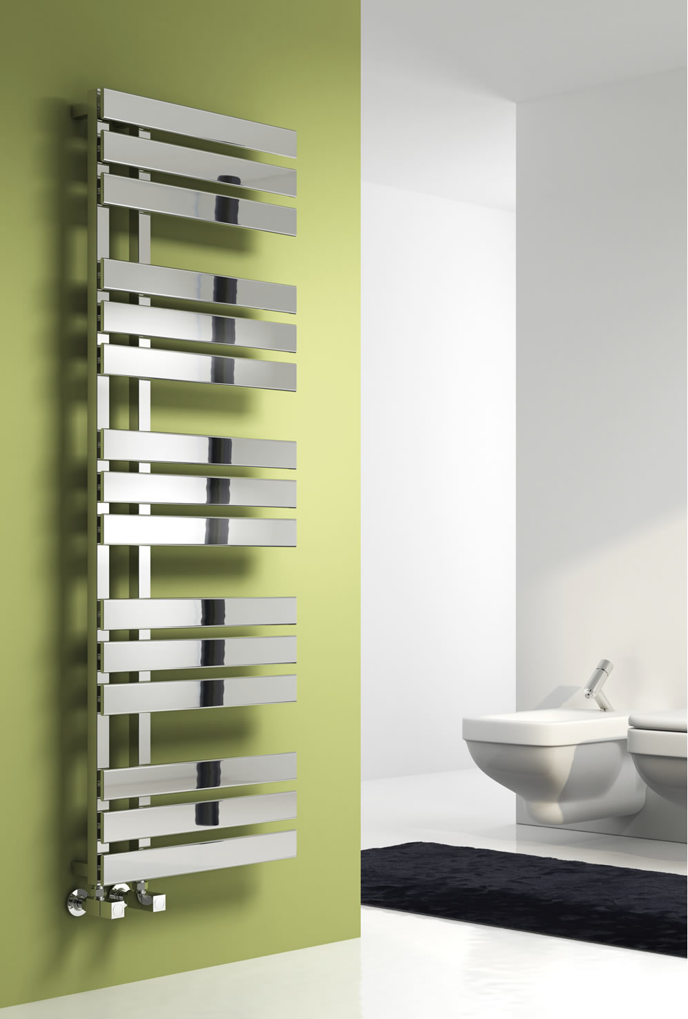 Reina Sesia Steel Contemporary Vertical Bathroom Panelled Towel Rail and Radiator - Chrome
