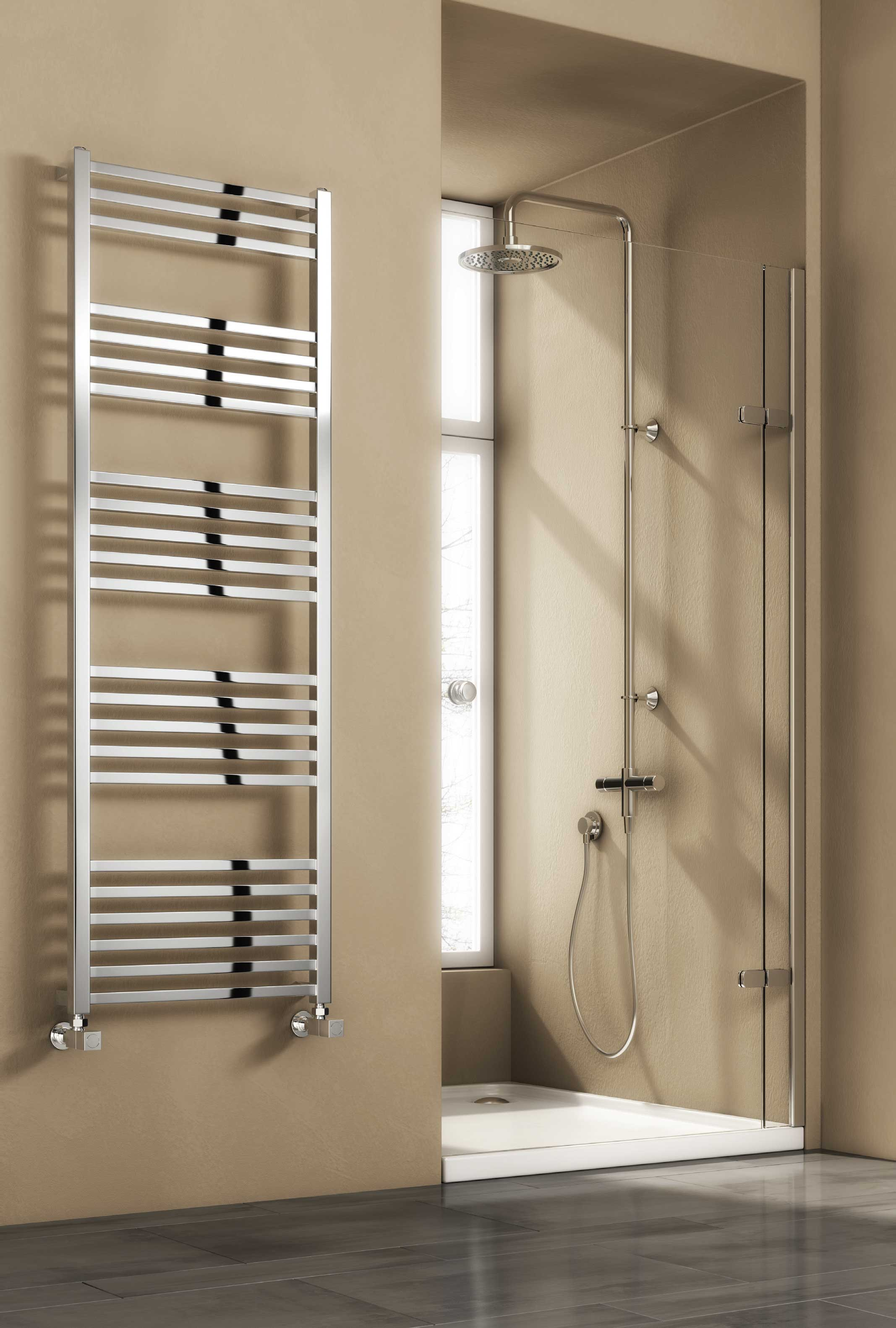 Reina Vasto Steel Modern Vertical Bathroom Towel Rail and Radiator - Chrome