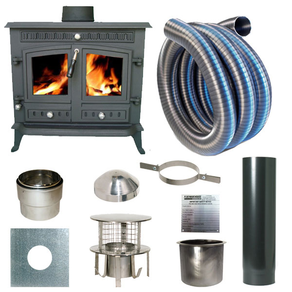 Slowburn Z9 - 12kw Cast Iron Wood Stove and Complete Flue Kit