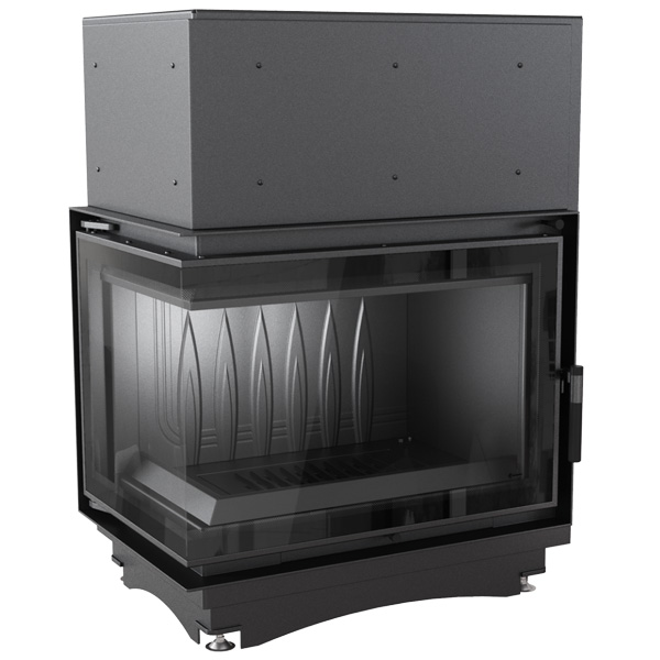 Kratki Zuzia 16kw Inset Wood Burning Stove With Left Side Glass & Black Glass Edge - ZUZIA/L/BS/DECO