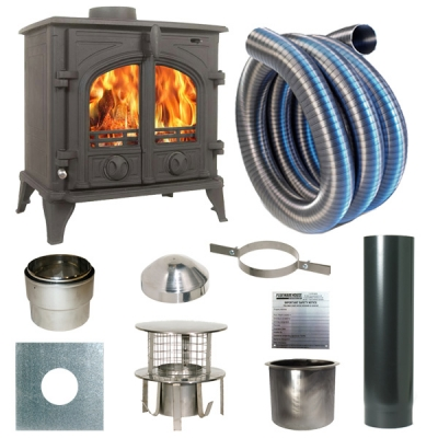 The Victoria 7kw Log Stove and Complete Flue Package