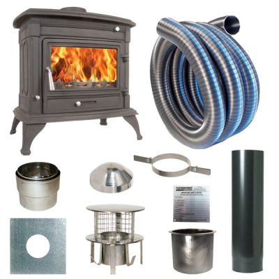 The Matterhorn 14kw Log Stove and Complete Flue Package