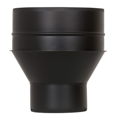 "5"" (125mm) - 6"" (150mm) Increasing Adaptor From Single Wall To Twin Wall Insulated Flue Pipe - Black"