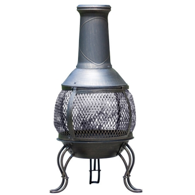 La Hacienda Leon Medium Mesh Steel Chimenea - Bronze