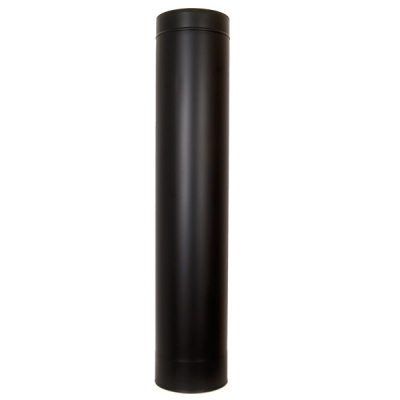 "8"" (200mm) 1000mm Length Of Twin Wall Insulated Flue Pipe - Black"