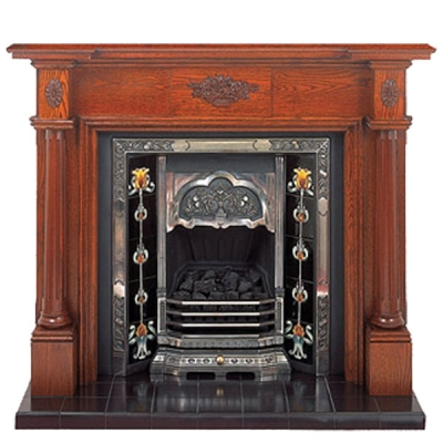 Prestige Full Pillar Hand Crafted Solid Wood Fire Surround - Oak
