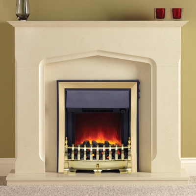 Be Modern Bramwell Marfil Marble Electric LED Fireplace