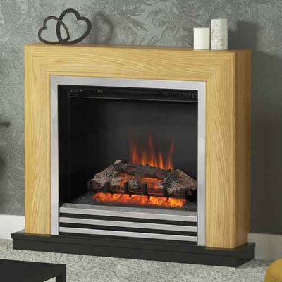 Be Modern Devonshire Natural Oak/Anthracite Electric LED Fireplace