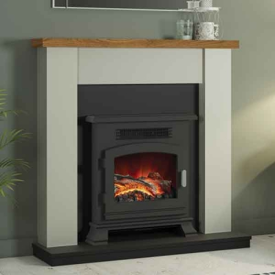 Be Modern Ravensdale Country Oak Top Stone/Anthracite Electric LED Fireplace
