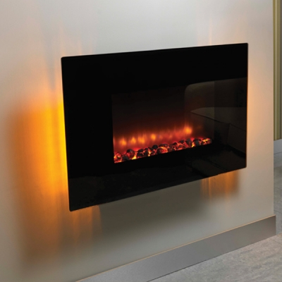 Be Modern Orlando Wall Mounted LED Electric Fire - Flat Glass