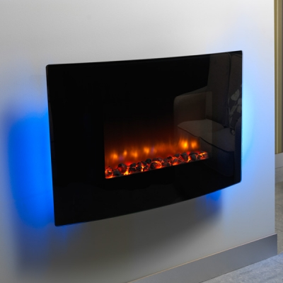 Be Modern Orlando Wall Mounted LED Electric Fire - Curved Glass