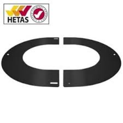 "6"" (150mm) 45° Round Finishing Plate - For Twin Wall Flue Pipe - Black"