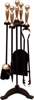 Companion Set Black & Satin Nickel, Ball Top