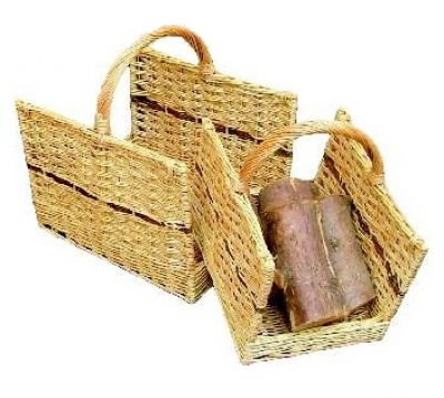 Log Baskets, Set Of 2 Open Ended