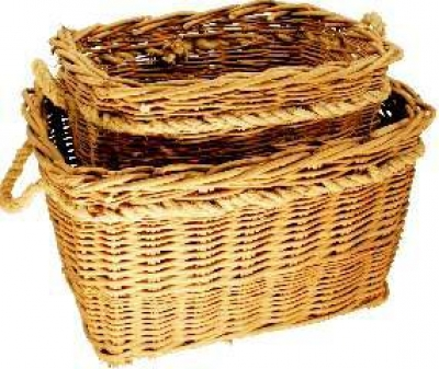 Log Basket, Set of 2 Deep Mill Log Baskets.