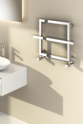 Reina Lago 2 Steel Contemporary Square Bathroom Towel Rail and Radiator - Chrome
