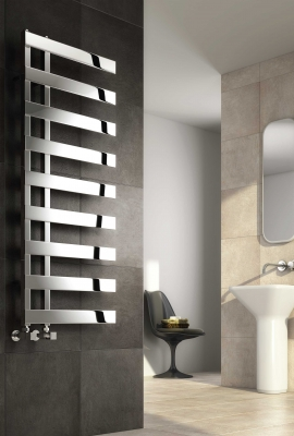 Reina Capelli  1235 X 500 Stainless Steel Vertical Bathroom Panelled Towel Rail and Radiator