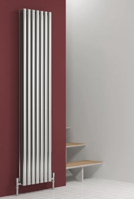 Reina Nerox Double 1800 X 295 Designer Polished or Brushed Stainless Steel Vertical Radiator