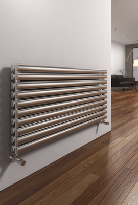 Reina Artena Double Brushed  590 X 1200 Stainless Steel Dual Fuel Modern Horizontal Radiator