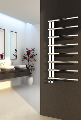 Reina Celico 585 X 500 Stainless Steel Dual Fuel Modern Vertical Bathroom Towel Rail and Radiator