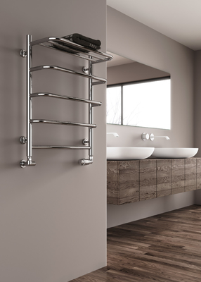 Reina Elvo 660 x 530 Stainless Steel Modern Vertical Bathroom Towel Rail and Radiator - Polished