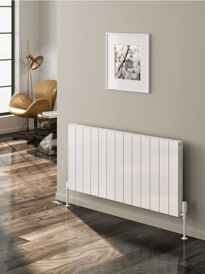Reina Casina Double Horizontal Designer Aluminium Contemporary Panelled Radiator - White