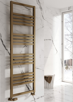 Reina Bolca Aluminium Modern Vertical Bathroom Towel Rail and Radiator - Bronze Satin