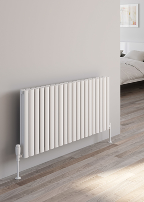 Reina Neval Aluminium Designer Double Horizontal Radiator - White