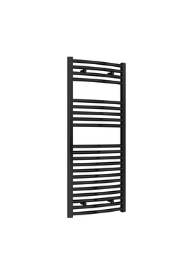 Reina Diva Steel Modern Curved Vertical Bathroom Towel Rail and Radiator - Black