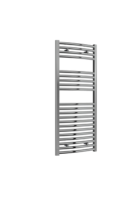 Reina Diva Steel Modern Curved Vertical Bathroom Towel Rail and Radiator - Chrome