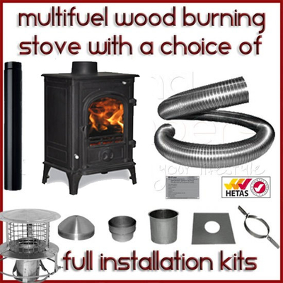 The Elbrus 5kw Log Stove and Complete Flue Package