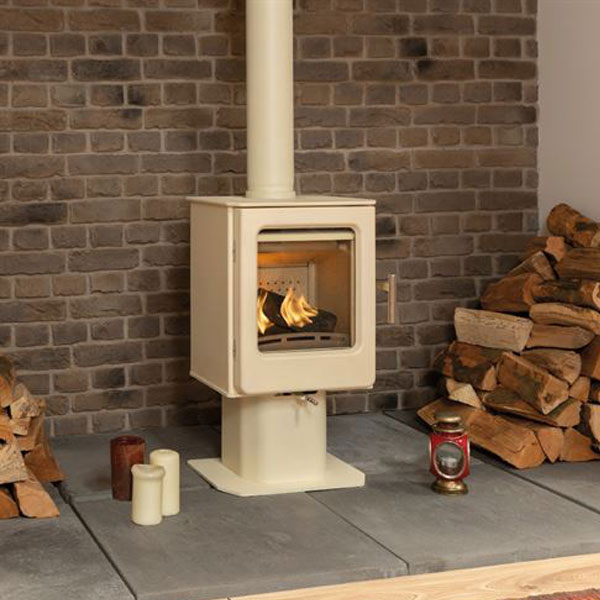 Mendip Ashcott 4.7kw Defra Multifuel Stove With Pedestal - Ivory Painted