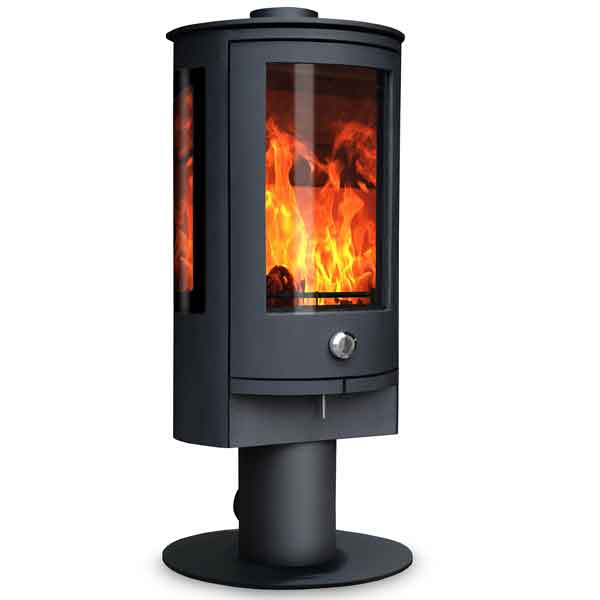 Oak Stoves Zeta 5kw Multifuel Stove On Pedestal With Side Glass