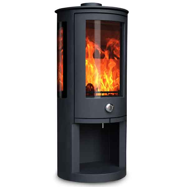 Oak Stoves Zeta 5kw Multifuel Stove With Log Store & Side Glass