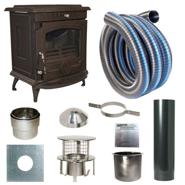 The Slowburn Olive 5kw Wood Stove and Complete Flue Kit