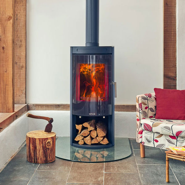 Opus Melody 5kw Wood Burning Stove With Log Store & Glass Door