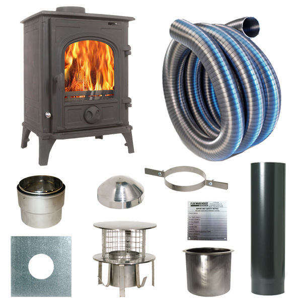 The Elbrus 5.5kw Log Stove and Complete Flue Package