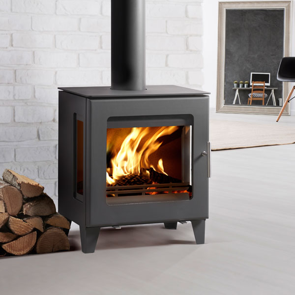 Westfire Uniq 23 6kw Side Glass Defra Approved Stove 100mm Legs