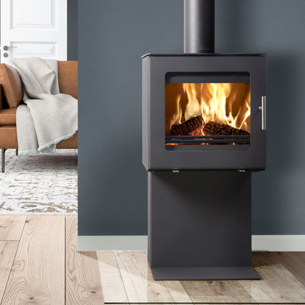 Westfire Uniq 23 6kw Side Glass Defra Stove & Pedestal One
