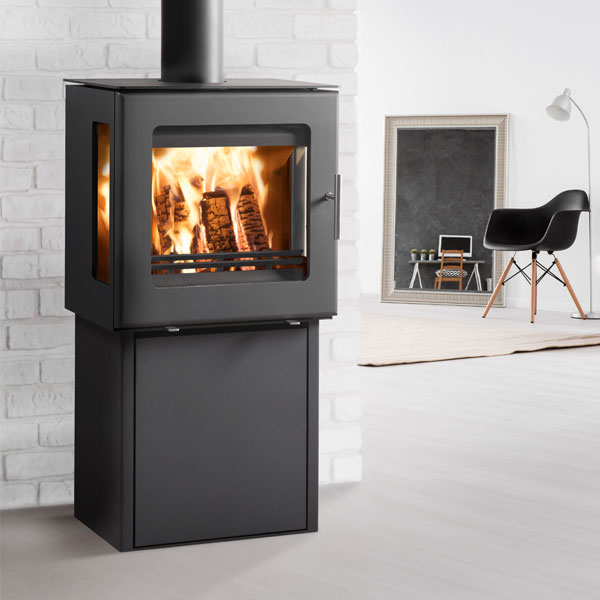 Westfire Uniq 23 6kw Side Glass Defra Stove & Pedestal Two