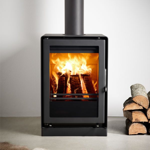Westfire Uniq 35 4.3kw Defra Wood Burning Stove On 50mm Block