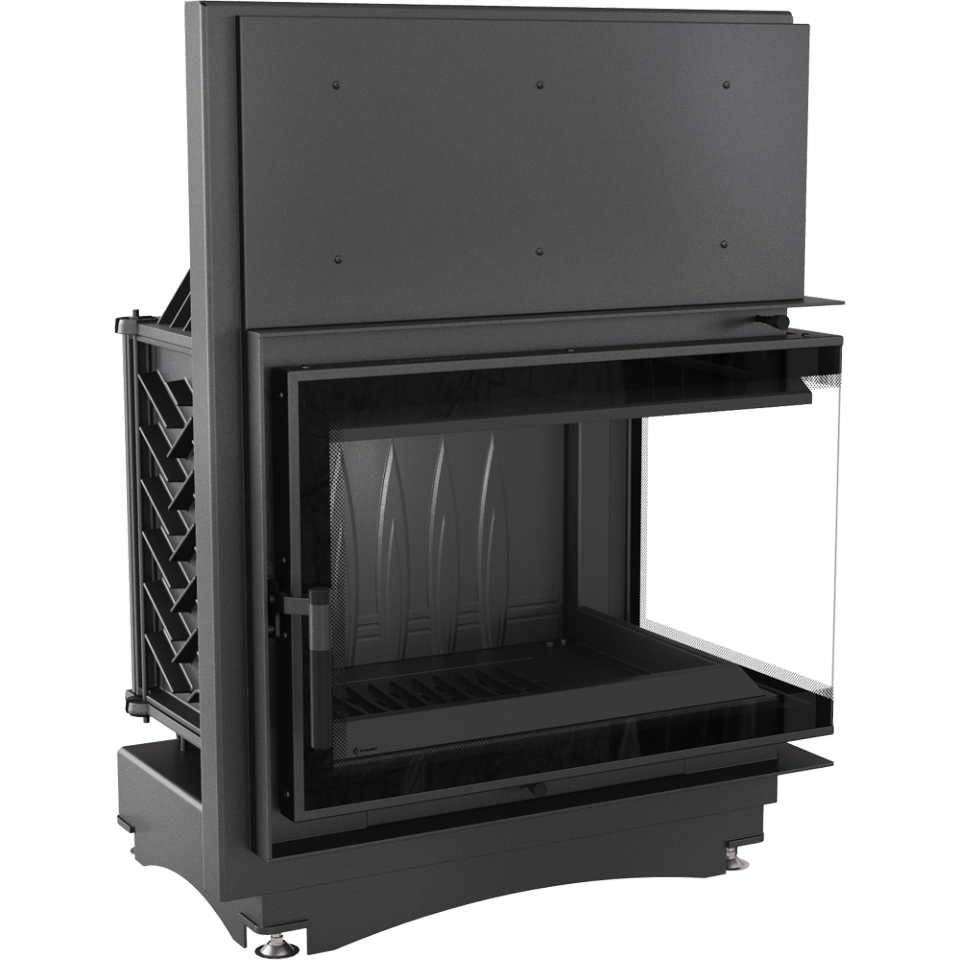 Kratki Zuzia 16kw Inset Wood Burning Stove With Right Side Glass & Black Glass Edge - ZUZIA/P/BS/DECO