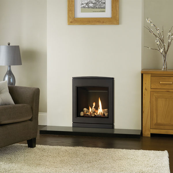 Yeoman CL530 4.7kw Inset Natural Gas Stove With Black Reed Lining - Conventional Flue