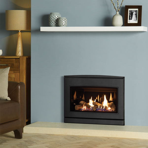 Yeoman CL670 5.6kw Inset LPG Gas Stove With Black Glass Lining - For Balanced Flue