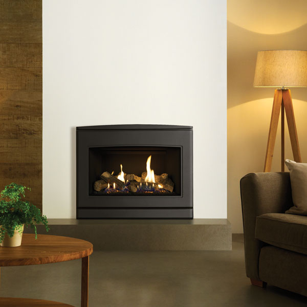 Yeoman CL670 5.6kw Inset Natural Gas Stove With Black Reed Lining - Conventional Flue